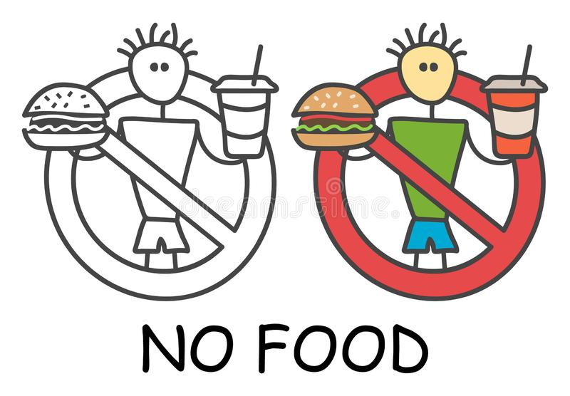 Funny vector stick man with a hamburger and drink in children`s style. No eating no fastfood sign red prohibition. Stop symbol. Prohibition icon sticker for royalty free illustration
