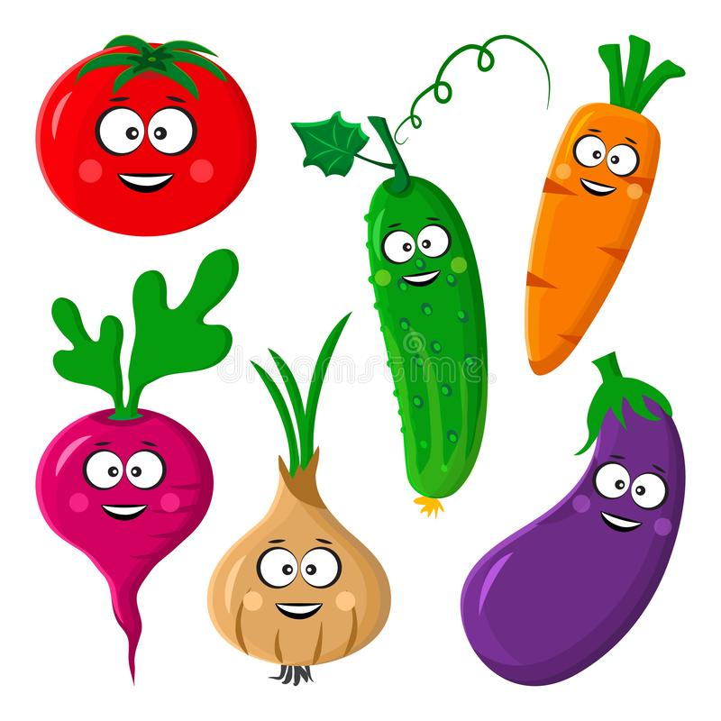 Funny vegetable emoticon. Tomato, cucumber, carrot, beetroot or radish, eggplant, onion. Vector illustration. Funny vegetable emoticon. Stylized character.Tomato vector illustration