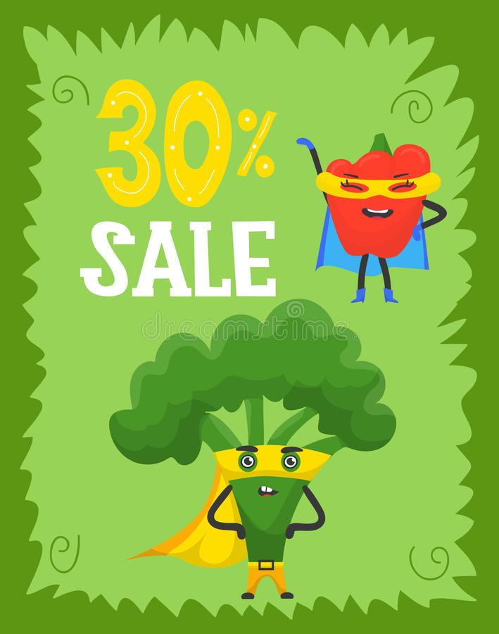 Funny vegetables hero and sale, superhero characters in capes and masks, flat style cartoon vector illustrations. Green stock illustration