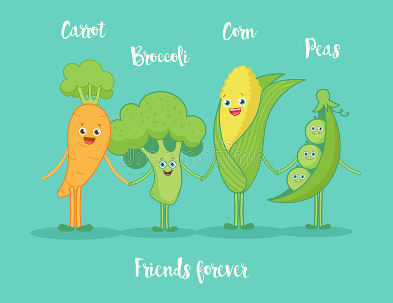 Funny vegetables holding hands. stock illustration