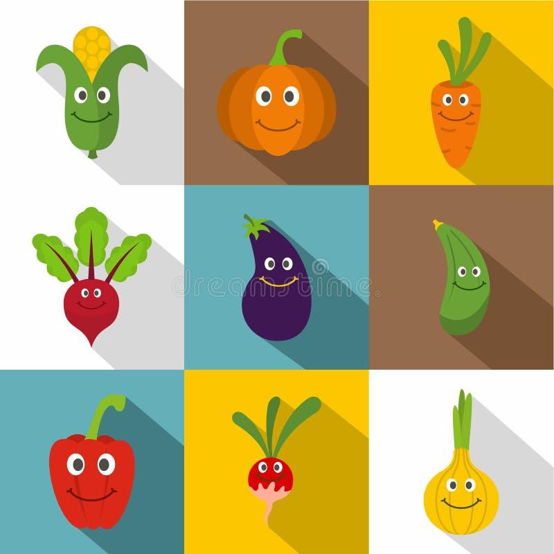 Funny vegetables icons set, flat style royalty free illustration