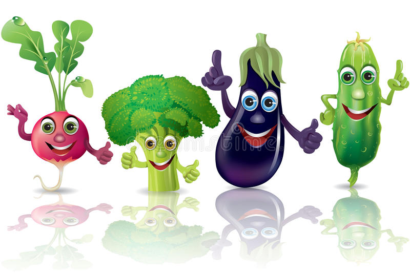 Funny vegetables, radishes, broccoli, eggplant. Funny green and red vegetables set. Illustration contains transparent object. EPS 10 stock illustration