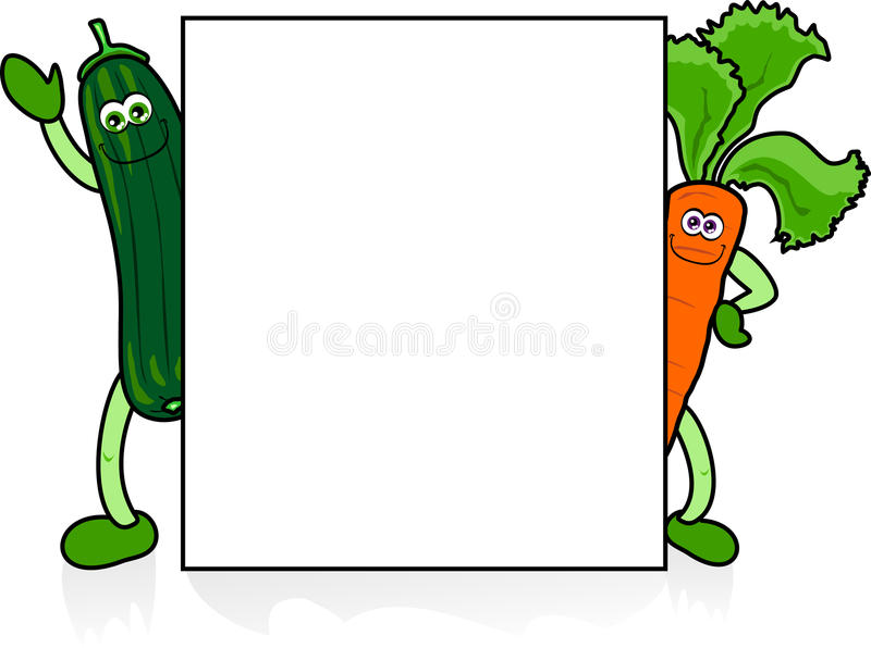 Funny vegetables with sign stock images