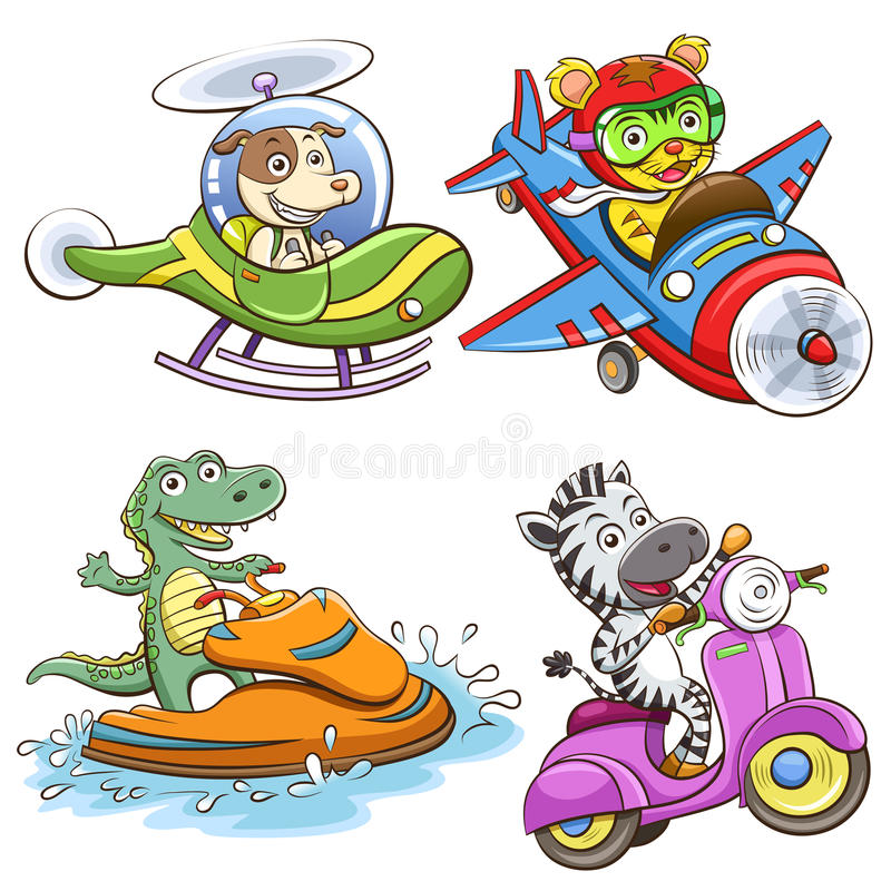 Funny vehicle and animal set. stock illustration
