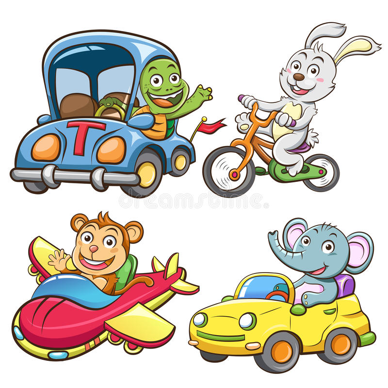 Funny vehicle and animal set. vector illustration