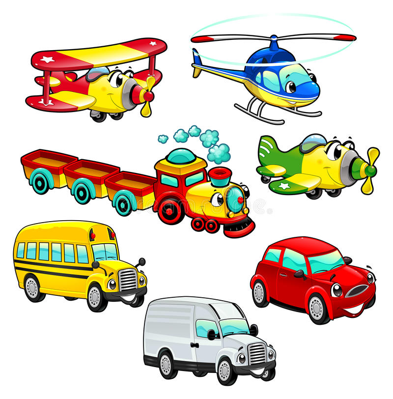 Download Funny vehicles. stock vector. Image of airplane, vector - 26603121