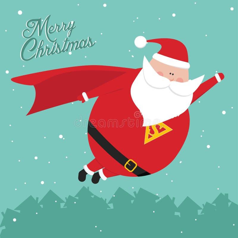 Funny vintage christmas SantaMan postcard vector illustration