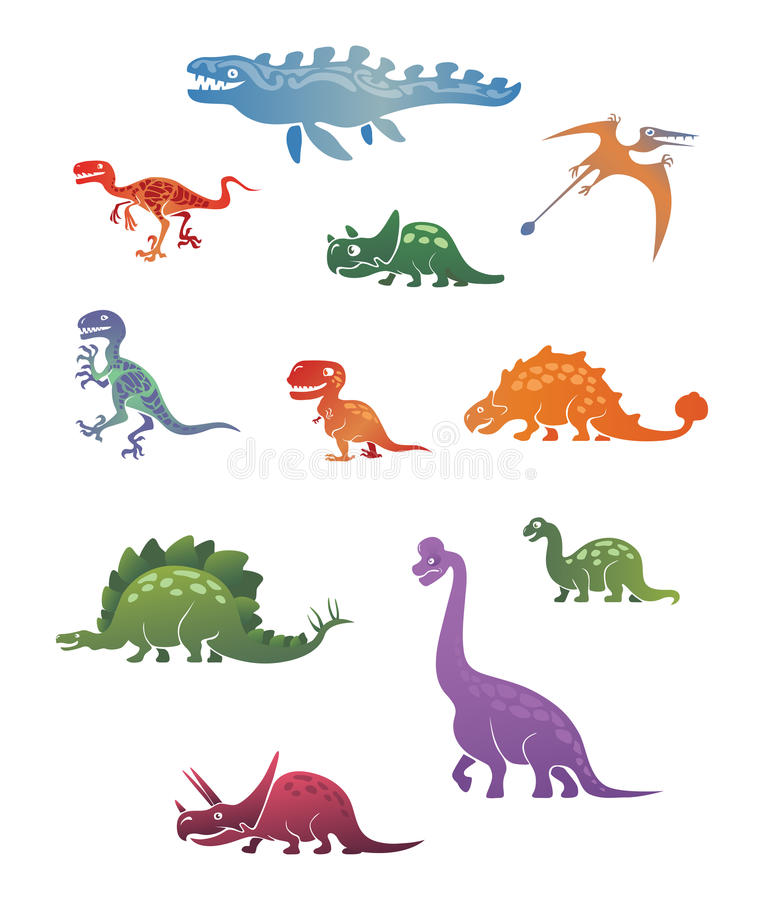 Funny vintage dinosaurs set one royalty free stock image