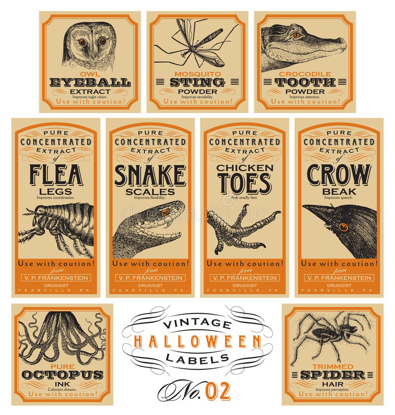 Funny vintage Halloween apothecary labels - set 02 (vector) royalty free illustration