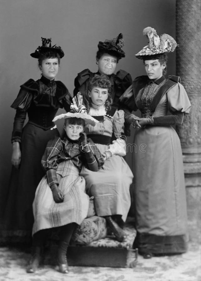 Funny Vintage Family Portrait Photograph, Angry Women royalty free stock photos