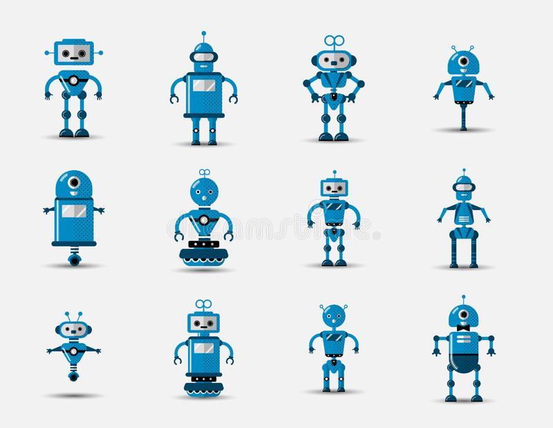 Funny vintage funny vector robot set icon in flat style isolated on grey background. Vintage illustration of flat. Chatbot icon collection. Set of Cute cartoon stock illustration