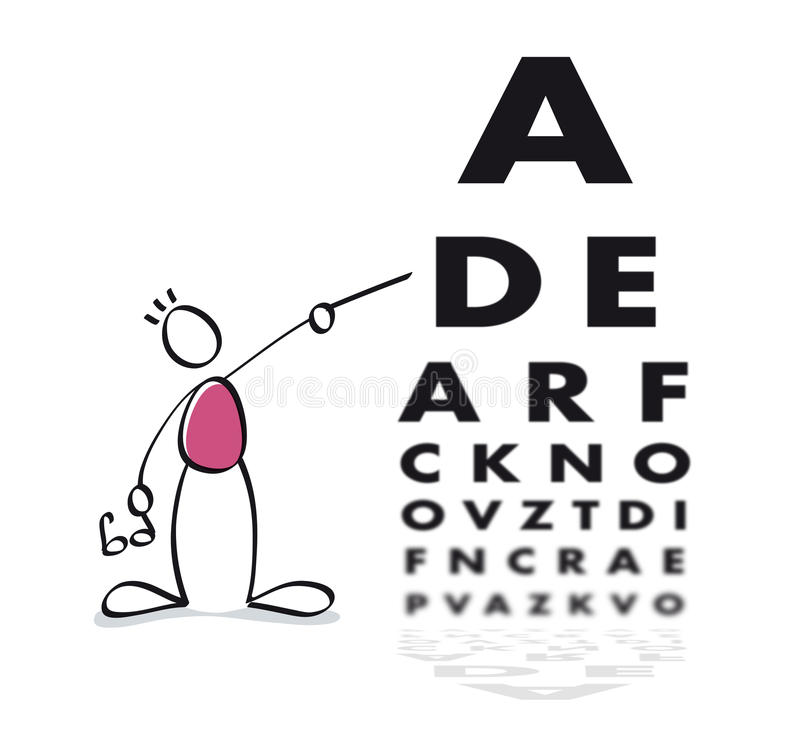 Funny vision test. Eye doctor doing a vision test to the patient vector illustration