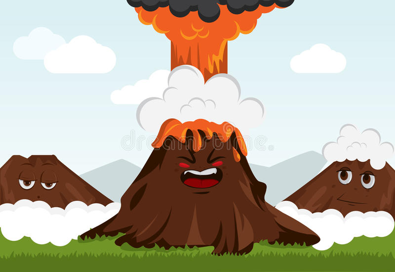 Funny volcano royalty free illustration