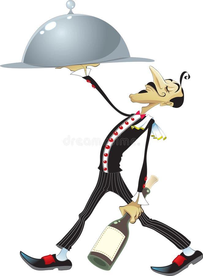 Funny Waiter. Vectro image, software: illustrator