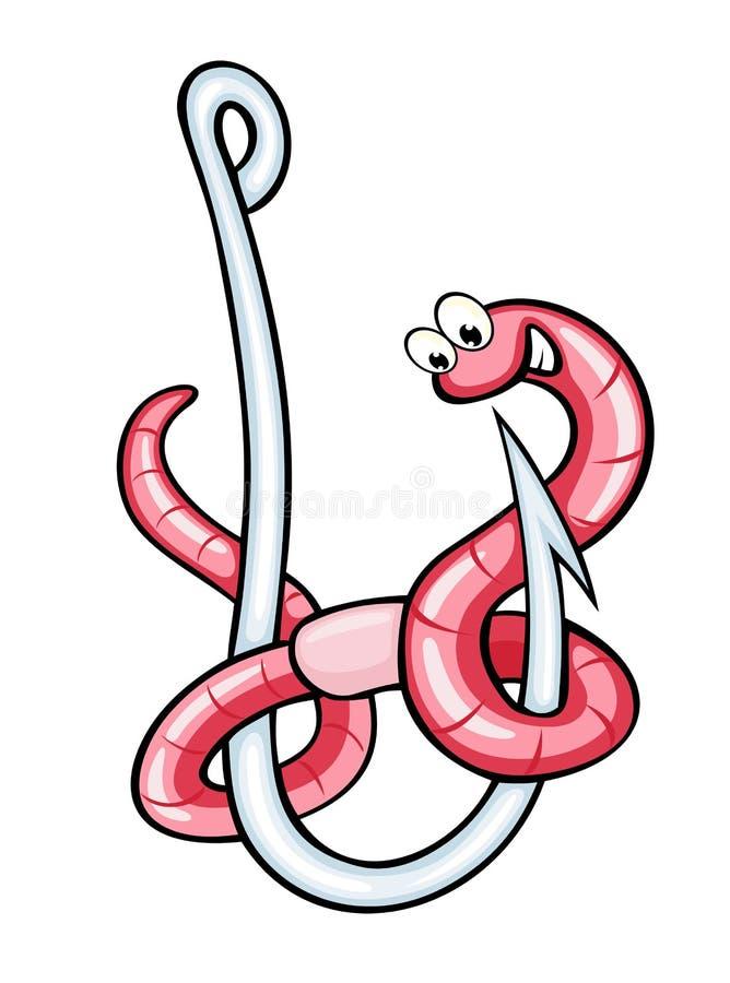 Funny warm on hook. Funny warm on fishing hook in cartoon style. Vector illustration vector illustration