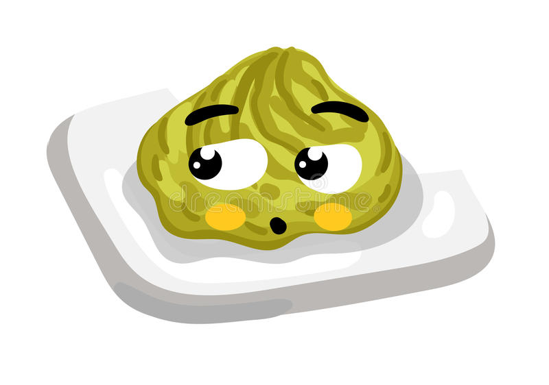Funny wasabi on plate cartoon character royalty free illustration