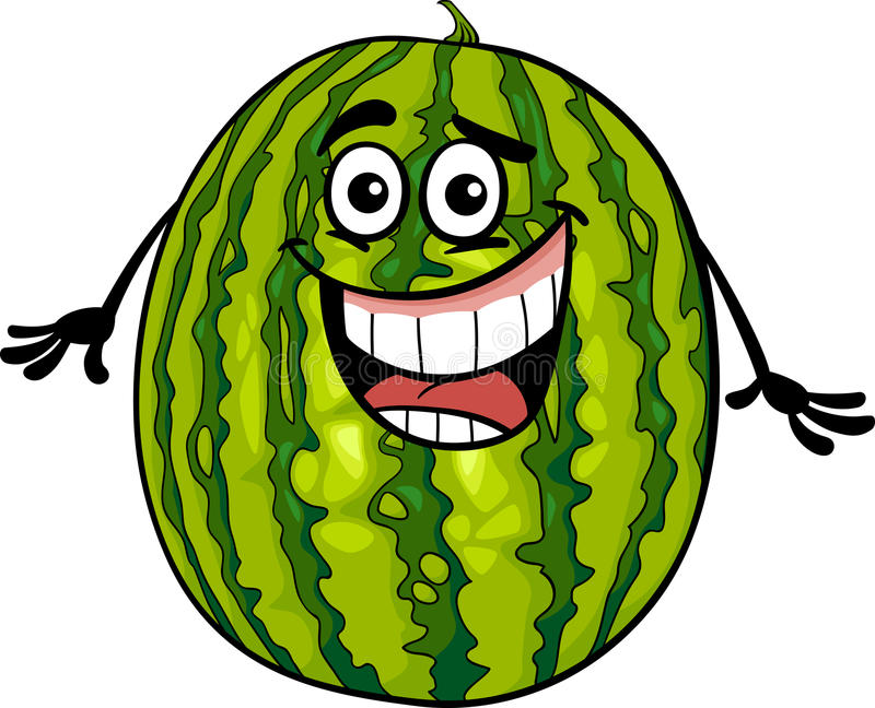 Funny watermelon fruit cartoon illustration vector illustration