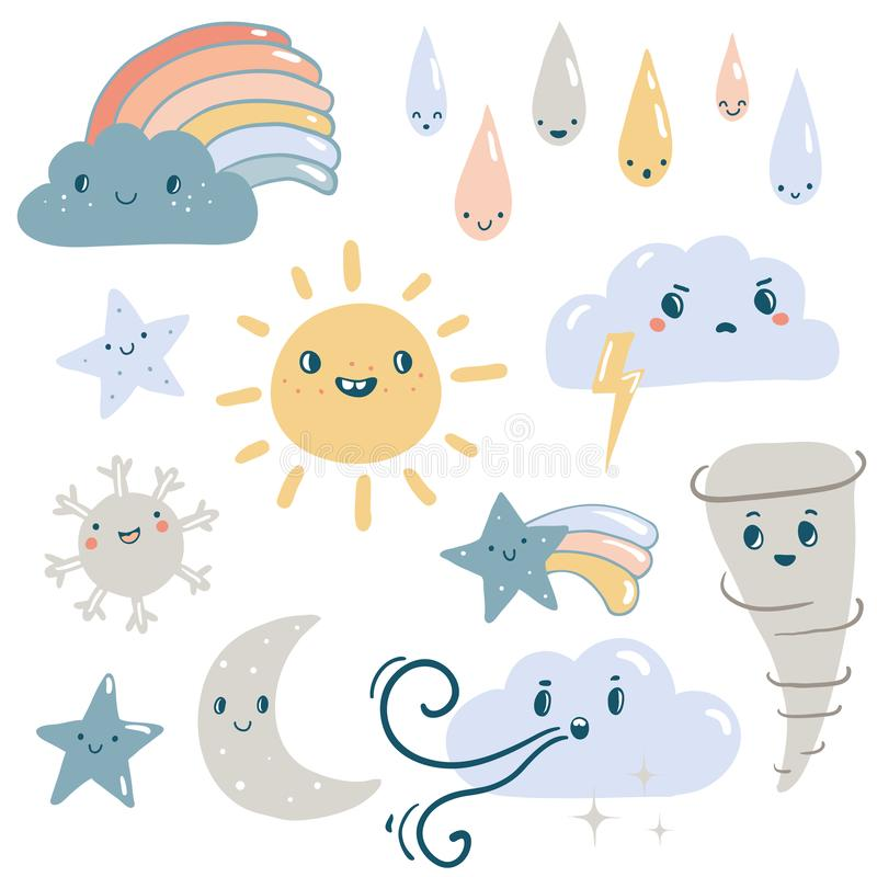 Funny weather vector set. stock illustration