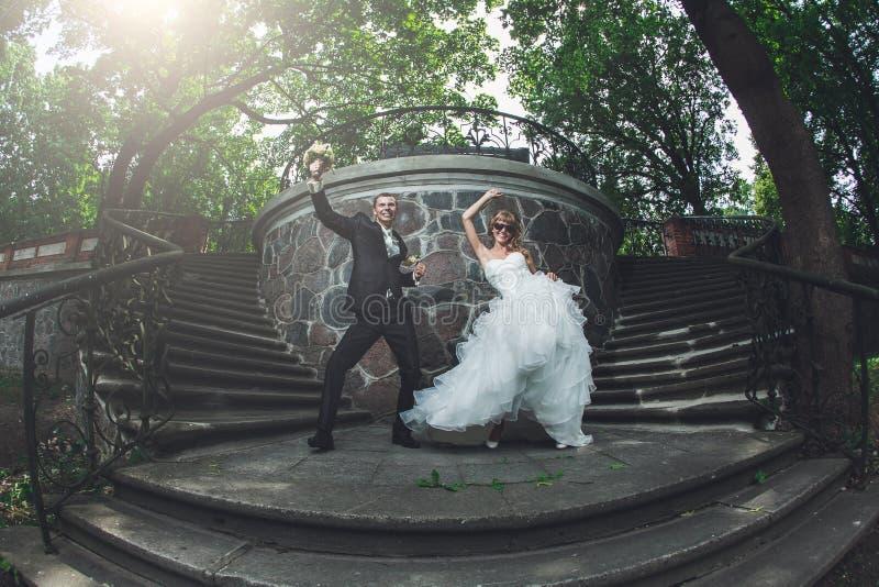 Funny wedding couple stock photography