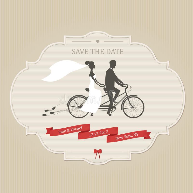 Funny wedding invitation with bride and groom riding tandem bicycle royalty free illustration