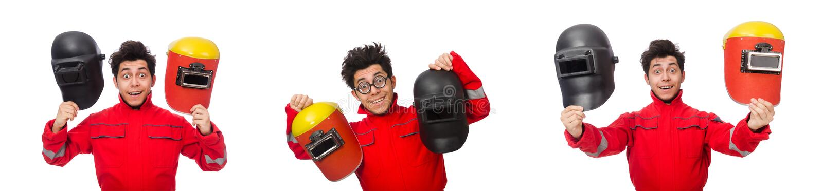 The funny welder isolated on white. Funny welder isolated on white stock photos