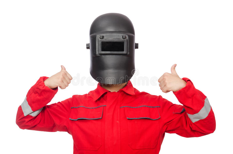 The funny welder isolated on white. Funny welder isolated on white royalty free stock photo
