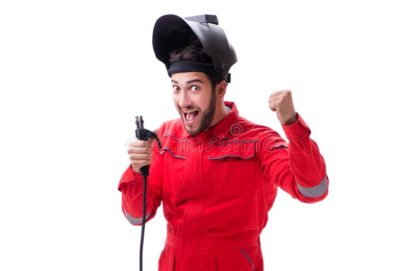 The funny welder isolated on white background. Funny welder isolated on white background royalty free stock image