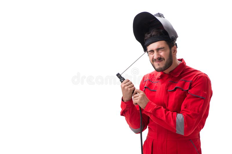 The funny welder isolated on white background. Funny welder isolated on white background stock photo