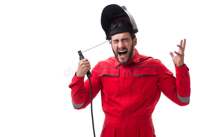 The funny welder isolated on white background. Funny welder isolated on white background stock image