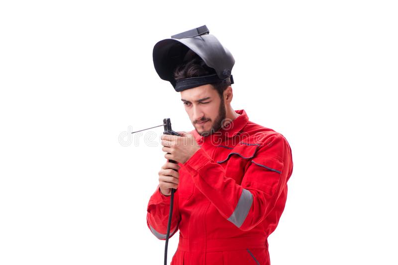 The funny welder isolated on white background. Funny welder isolated on white background royalty free stock images