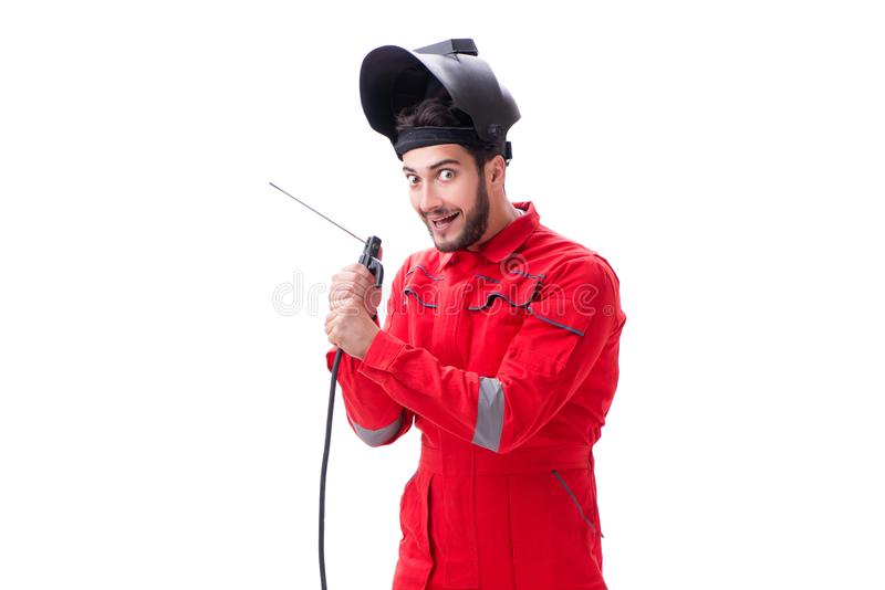 The funny welder isolated on white background. Funny welder isolated on white background stock images