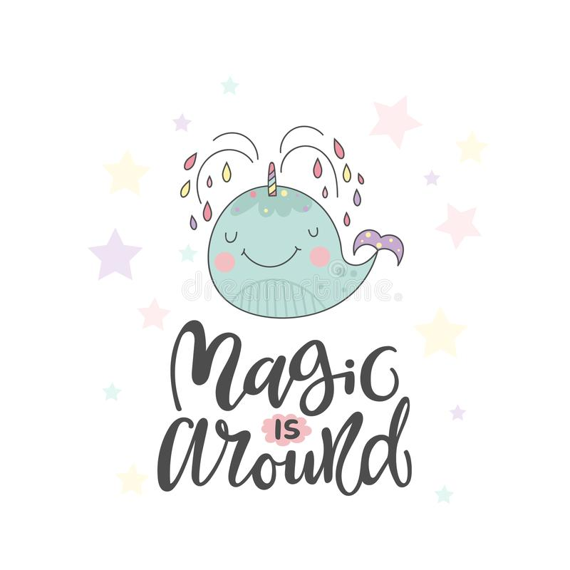 Free Funny Whale And Lettering About Magic Stock Photos - 116488533
