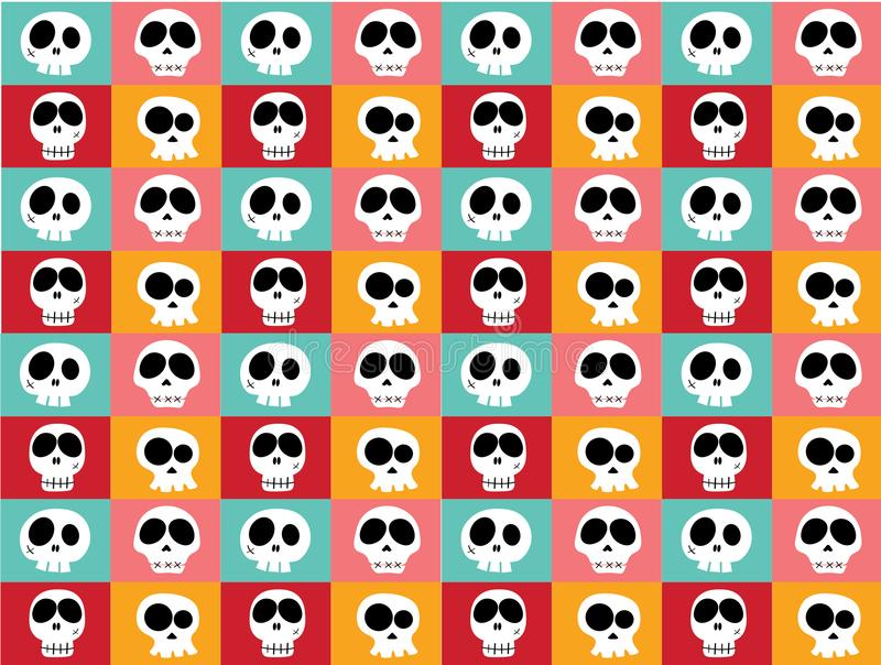 Funny white doodle skulls in different characters on vintage bright multicoloured background, pattern seamless background. royalty free illustration