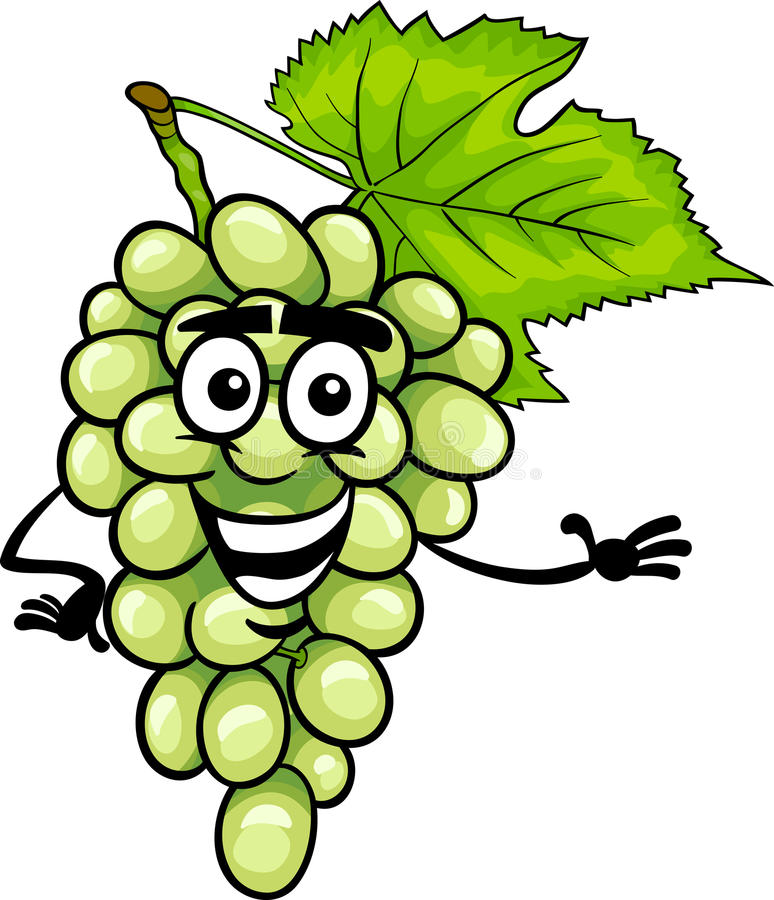 Funny White Grapes Fruit Cartoon Illustration Stock Vector ...