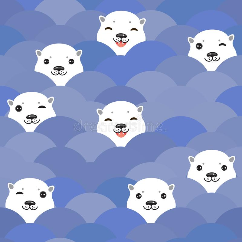 Funny white Polar Bear in blue water, sea waves Seamless pattern, background. Kawaii faces. Vector illustration stock illustration