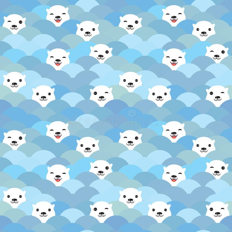 Funny white Polar Bear in light blue water, sea waves Seamless pattern, background. Kawaii faces. Vector illustration.  vector illustration