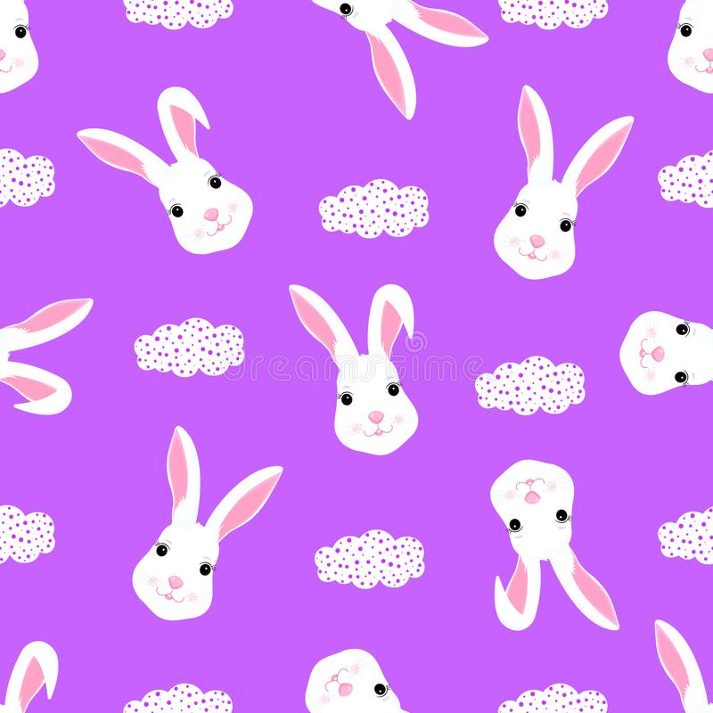 Funny white rabbit baby background for design clothes, nursery. Cute bunny seamless pattern royalty free illustration