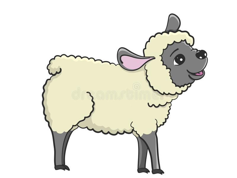Illustration of happy sheep with black face royalty free stock images
