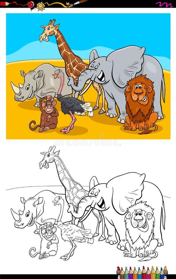 Funny wild animals characters group color book. Cartoon Illustration of Funny Safari Animal Characters Group Coloring Book Activity royalty free illustration