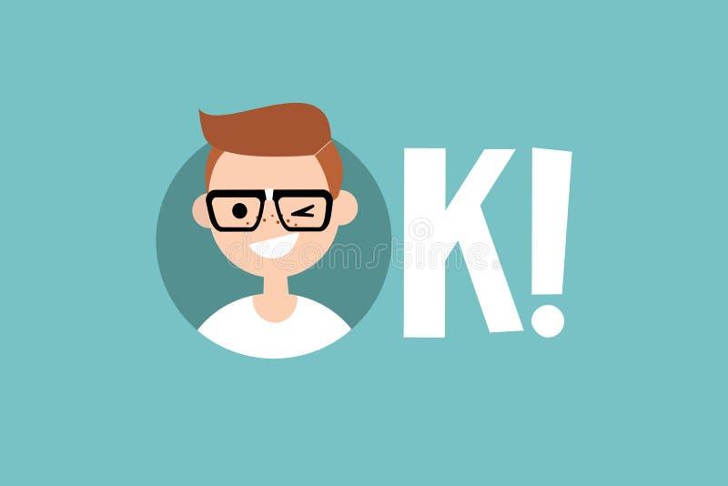 Funny winking nerd says OK stock illustration