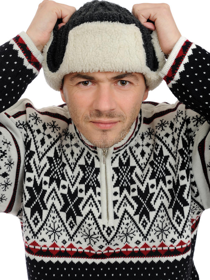 Download Funny Winter Men In Warm Hat And Clothes. Stock Photo - Image of isolated, christmas: 16924812