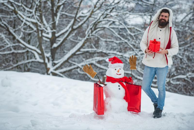 Funny winter people Portrait. Santa wishes merry Christmas. Winter holidays and people concept. Modern Santa. Santa stock image