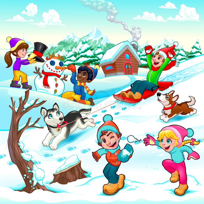 Funny winter scene with children and dogs stock illustration