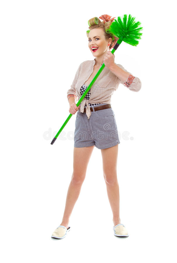 Download Funny woman stock photo. Image of chore, funny, cleaning - 28438804