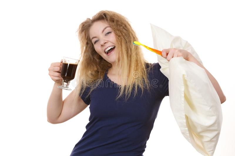 Funny woman being late drinking coffee royalty free stock photos