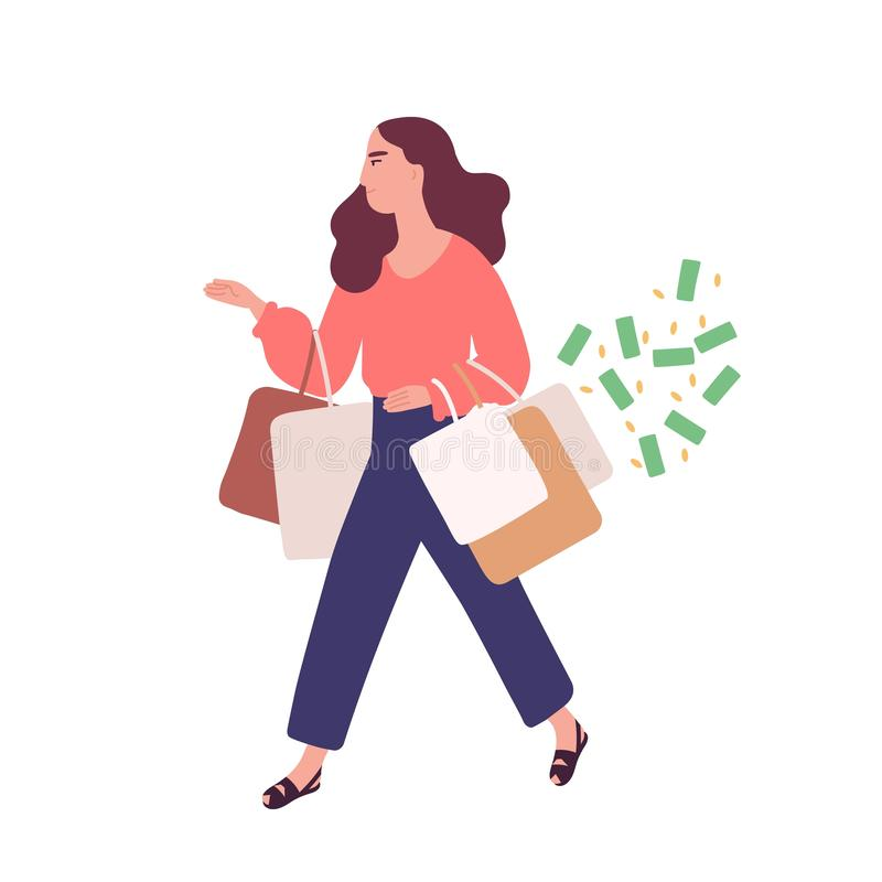 Funny woman carrying bags with purchases. Concept of shopping addiction, shopaholic behavior. Mental illness, behavioral. Problem, psychiatric condition. Flat vector illustration