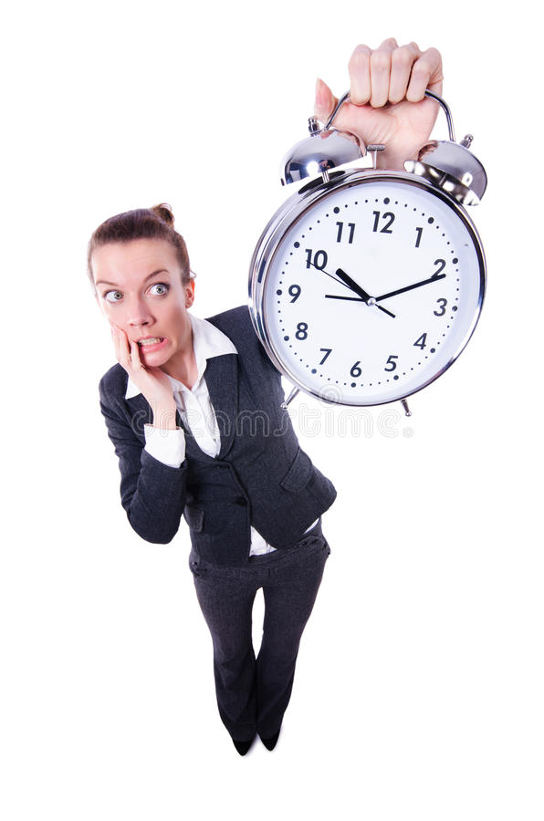 Download Funny woman with clock stock photo. Image of formal, humour - 31753476