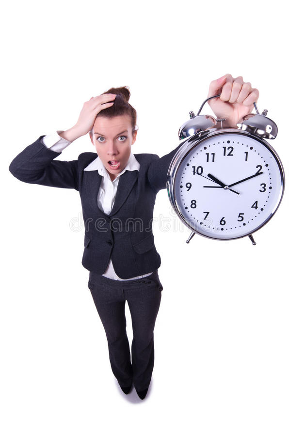 Funny woman with clock. On white royalty free stock photo
