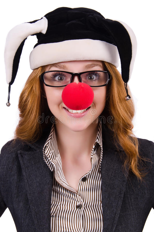 Funny woman clown royalty free stock photography