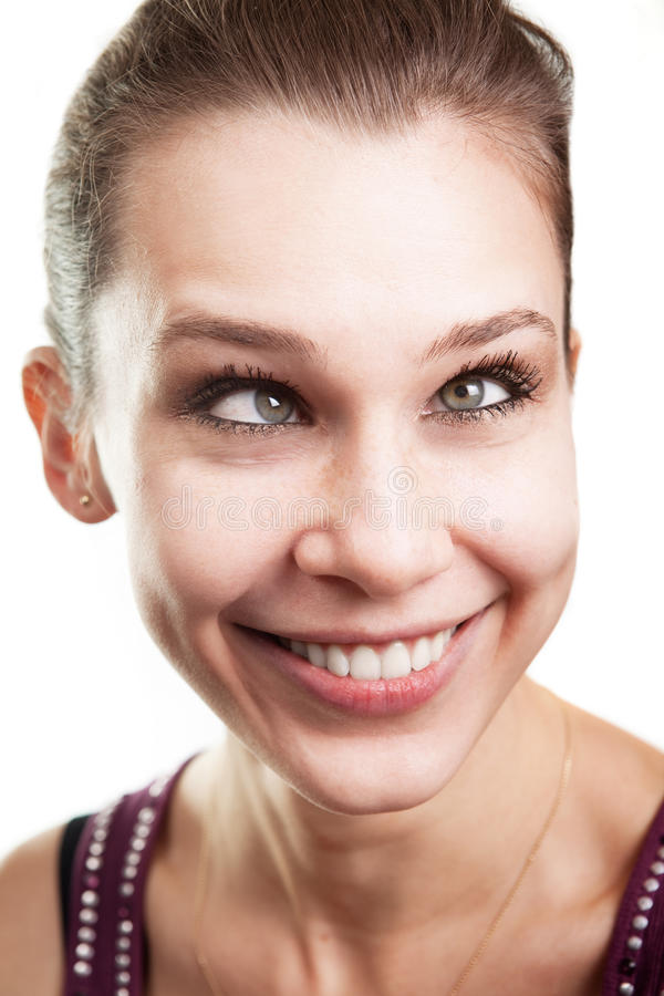 Funny woman with eyes crossed. Face of funny woman with eyes crossed stock photography